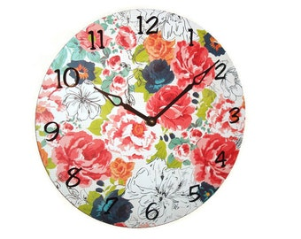 SILENT Red Coral Navy Floral Wall Clock, Unique Wall Decor, Large Wall Clock, Unique Wall Clock, Alpine Rose - 1917
