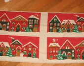 Pre Printed Panel Winter Houses Small Village Vintage style - Banner Appliques Fabric Pillows Place Mats craft show sewing supply