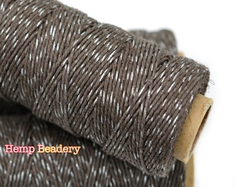 Bakers Twine, Silver Metallic, Chocolate Glow,  1mm,  205 feet, 4ply,  Hemp Twine -T65