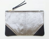 READY TO SHIP - Large Metallic Silk and Leather Wristlet, Silk and Leather Clutch, Wedding Clutch, Evening Clutch, Holiday Clutch