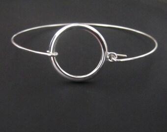 Sterling Silver Bracelet, Circle Bracelet, Bangle Bracelet, Jewelry, Friendship Bracelet, Gift