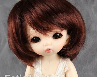"Fatiao - New BJD Dollfie pukipuki BF Pocket 3-4"" Doll Wig - Chocolate"
