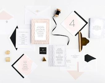 Modern Wedding Invitation, Artsy Wedding Invitation, Unique Wedding Invitation, Wedding Invitation Suite, Black and White, Edgy Invitation