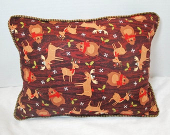 "Woodland Pillow cover with piping, moose, bear, deer, cabin decor, lodge decor pillow, wood grain, 12"", 12x16 inches"