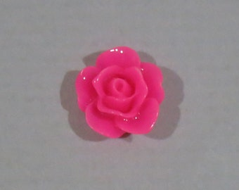 40 pcs 10mm Rose Pink Resin Rose Cabochon