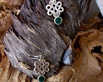 Sterling Silver Celtic Earrings with Malachite Stones RF275