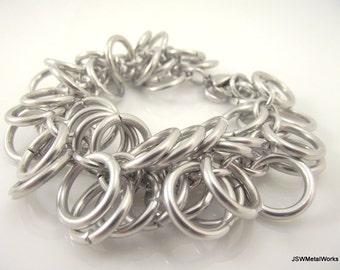 Shaggy Bold Aluminum Chainmaille Bracelet, Chunky Chainmail Bracelet, Statement Silver Bracelet