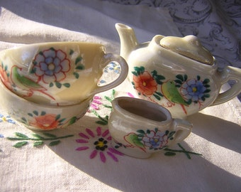 Vintage Miniature Lustreware China Dishes for Children Tea Party -Toy Doll's Tea Set Handpainted