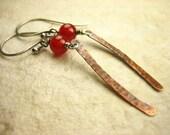 Rustic red glowing Carnelian copper hammered Sterling Silver earrings gray oxidized earthy long dangle