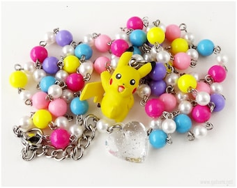 Pikachu Necklace, Pokemon Figure Pendant, Colorful Rosary Chain - Anime, Gamer