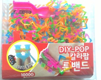 1 box DIY Cute rubber band Rainbow Star Shape findings for making loom bracelet with s clip and pvc hook