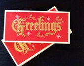 """Vintage Holiday Christmas Greeting Card Set - """"greetings""""  Lot of 15 cards"""