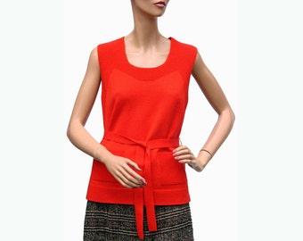 Vintage 1960s Red Sleeveless Sweater Vest  -  M