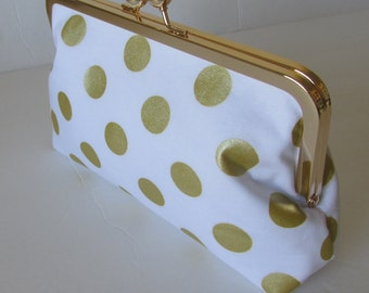 Gold and white Clutch, Christmas Gift, Bridesmaid Clutch, Wedding  Accessory, bridal clutch