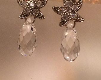 Starfish earrings in Clear Swarovski