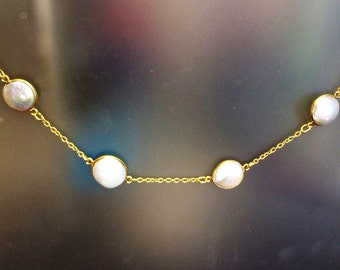 Bezel gold organic pearl and gold plated sterling silver necklace, station, June birthstone, boho, classic, everyday, layering