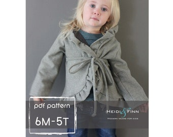 Girly Cardigan jacket sewing pattern 6M - 5T EASY Sew pdf DIY sweater coat