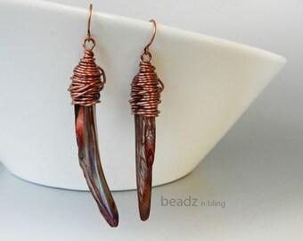Long Shell Earrings, SALE, Long Stick Earrings, Copper Brown Earrings, Wire Wrapped Earrings, Gypsy Style Jewelry