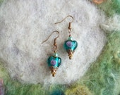 Sweetheart Earrings,Shabby Vintage Style Earrings, Aqua Lamp Work Heart Beads, Love/Valentine/Gift