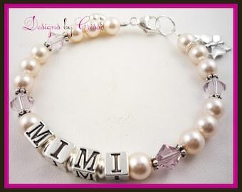 Mimi Bracelet - Grandma- Grandmother- Mom- Mother - swarovski pearl and crystal - any personalization