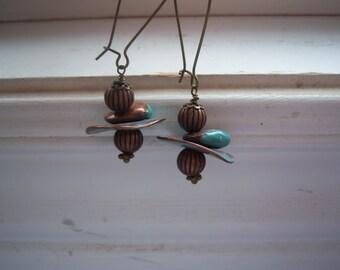 Copper And Turquoise Earrings - Copper Earrings -Funky Shaped Earrings