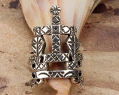 BARON SAMEDI RING - Sterling 925 Silver Voodoo Veve Lwa Vodou - Made To Order in Your Size