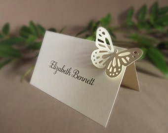 50 Blank Butterfly Place Cards/ Wedding - Tent Style, 3D, Escort Cards, Rehearsal Dinner, Reception/ Free Standing Placecards