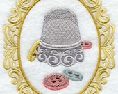 CRAFTY CAMEO - THIMBLE- Machine Embroidered Quilt Block (AzEB)