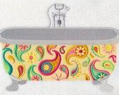 PAISLEY BATHTUB- Machine Embroidered Quilt Block (AzEB)
