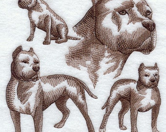 PIT BULL SKETCH- Machine Embroidery Quilt Blocks (AzEB)