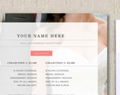 Photography Pricing Template- Wedding Price List Template - Marketing Templates - Pricing Sheet - m0103