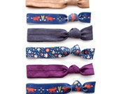 The Woodland Package - 6 Elastic Fox and Floral Print Hair Ties that Double as Bracelets by Mane Message on Etsy