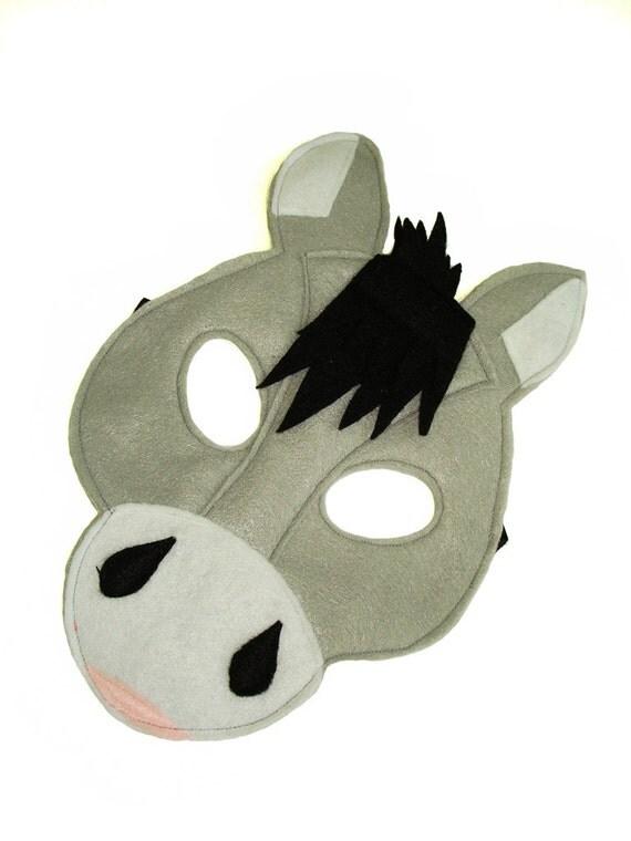 Children 39 s donkey farm animal felt mask for Donkey face mask template