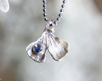 Ginkgo Leave Blue Sapphire Pendant, Recycled Sterling Silver Necklace, Gemstone, Birthstone, Statement Necklace - Made To Order