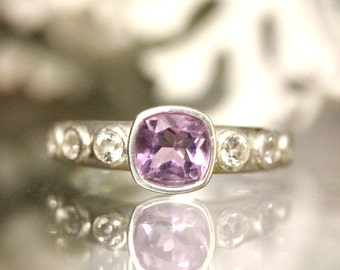 Pink Amethyst And White Topaz Sterling Silver Ring, Gemstone Ring, Cushion Shape, Engagement Ring, Stacking Ring - Made To Order