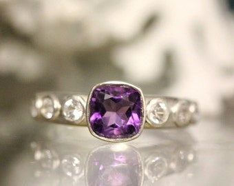 Deep Purple African Amethyst And White Topaz Sterling Ring, Gemstone Ring, Cushion Shape, Engagement Ring, Stacking Ring - Made To Order
