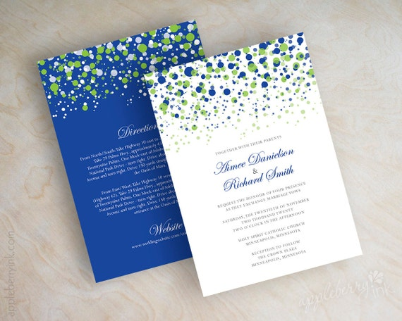 lime green and royal blue wedding invitations lime green and, Wedding invitations