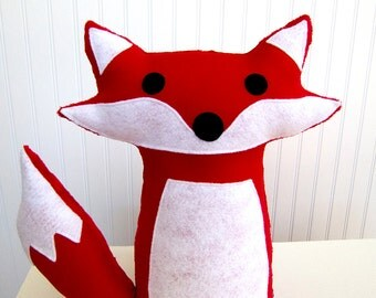 Plush Fox Toy Pillow Stuffed Red Woodland Nursery Decor Ready to Ship