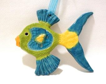 Ceramic Fish Ornament, Recycled Glass and Ceramic Fish Sculpture