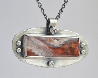 sterling silver crazy lace agate pendant necklace
