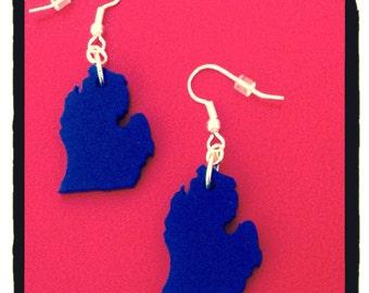 State Earrings, Michigan Jewelry, Lasercut Acrylic, Dark Blue, Lower Peninsula of Michigan