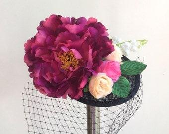 Pink and black fascinator - Floral fascinator - Black birdcage veil - Wedding fascinator.