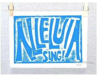 ALLELUIA -Sing, Christia,  Inspirational Sign, Kitchen Art,  Laundry Room Art, Easter Celebration, Modern Nursery Art
