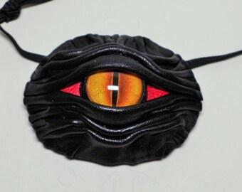 Dragon eye eye patch black leather. Rainbow eye patch.