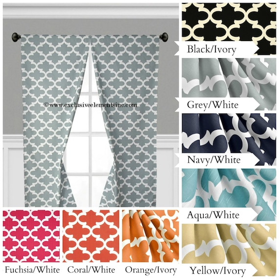Quatrefoil Curtains Lattice Modern Geometric Curtain Panels Yellow ...