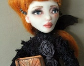 RESERVED FOR TERRY Halloween Witch Art Doll with a Spell Book One of a kind Art
