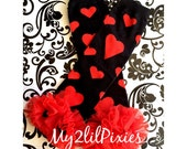 Heart Leg warmers, black and red heart Leg warmers,  Baby Girl Leg warmers, Ruffle Leg warmers, Girl Leg warmers, leg warmers, Valentine
