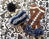 Inspired by The Dallas Cowboys . Chiffon ruffle bum baby bloomer, football Legwarmers and Matching Headband - Photo Prop- MY2LILPIXIES
