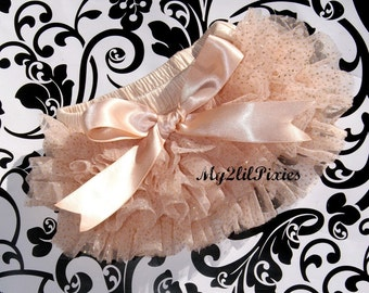 Baby Girl Champagne BLOOMER with Bow, ruffle diaper cover, photo prop, newborn ruffle bloomer, Newborn prop, Many colors to choose from