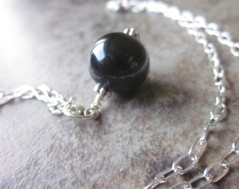Artisan Layering Necklace, OOAK, Chunky Black Glass Round Pendant, Simple, Minimalist, One of a Kind, Silver Chain, Versatile, For Her